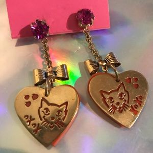 Orange cat heart earrings Betsey Johnson vintage